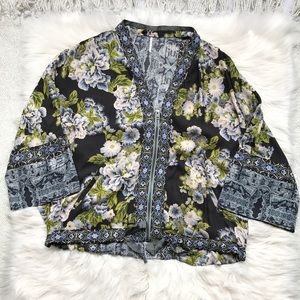 Free People Grey Floral Oversized Zip Up
